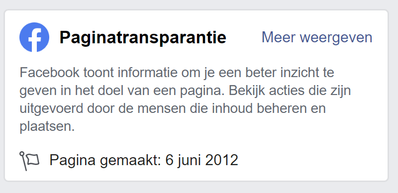 Paginatransparantie Facebook