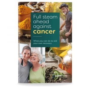 """Front cover of the book """"Full steam ahead against cancer"""""""