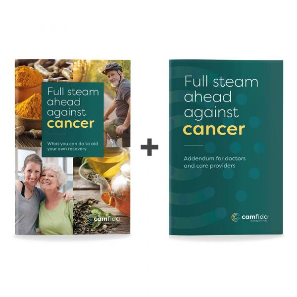 """Front covers of the book """"Full steam ahead against cancer"""" and the addendum for doctors and care providers"""